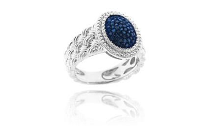1/4 CTTW Blue Diamond Ring in Solid Sterling Silver