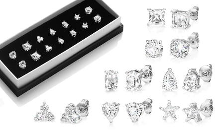 One, Four or Seven Pairs of Philip Jones Stud Earrings with Crystals from Swarovski®