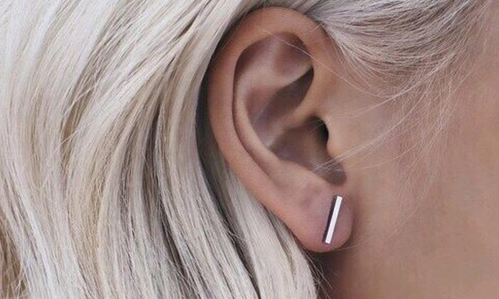 Minimalistische Oorbellen Zilver : Minimalistische staafjes oorbellen groupon goods