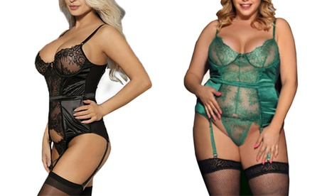 Women's Eyelash-Lace Teddy Lingerie Set. Plus Size Available. f697a7e7-58d2-47f1-863b-a96c731ac8f6