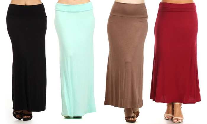 4e144f0bbe54 MOA Collection Women's Casual Flared Maxi Skirt. Plus Sizes Available.