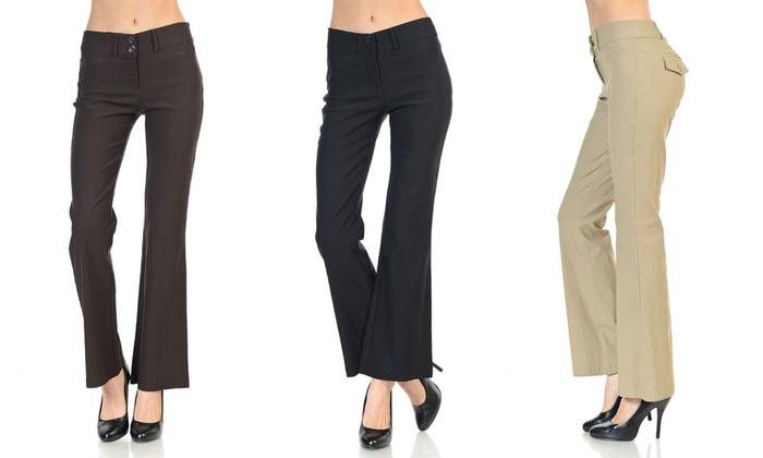 Women's Flared Dress Pants | Groupon