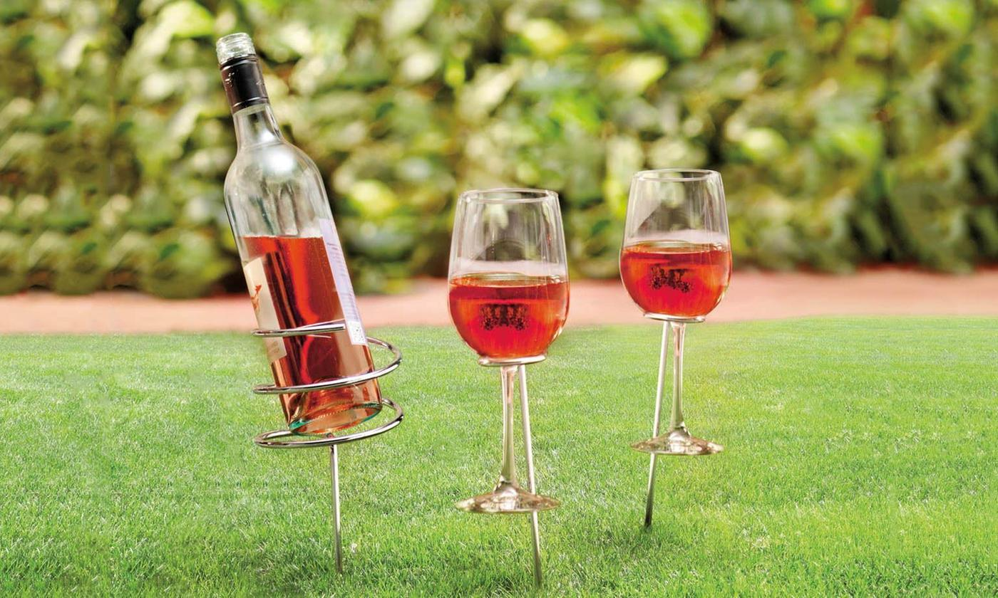 One, Two or Three Vivo Wine Bottle and Wine Glass Holder Sets