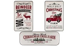 Farmhouse Christmas Metal Sign