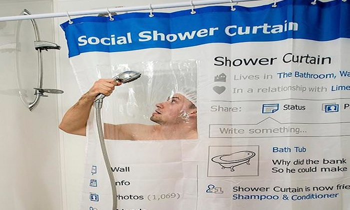 Social Media Shower Curtain | Groupon Goods