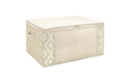 groupon daily deal - Ikat-Printed Jumbo Storage Bag with Zipper. Free Returns.