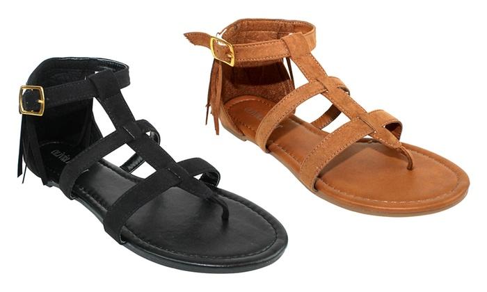 Olivia Miller Monaco Women's Back Fringe Buckle Sandals