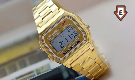 Men's MultiFunctional Digital Watch with Stainless Steel Strap