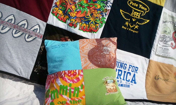 Mominizer: T-shirt Memory Quilt with Optional 4-Square Pillow from Mominizer (Up to 53% Off). Three Options Available.
