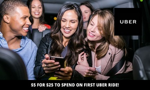 Uber: $5 for $25 Credit Towards Your First Uber Ride - New Customers Only