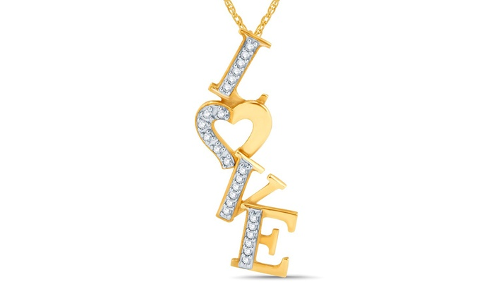 025 cttw diamond love pendant in 10k yellow gold groupon 025 cttw diamond love pendant in 10k yellow gold aloadofball Image collections