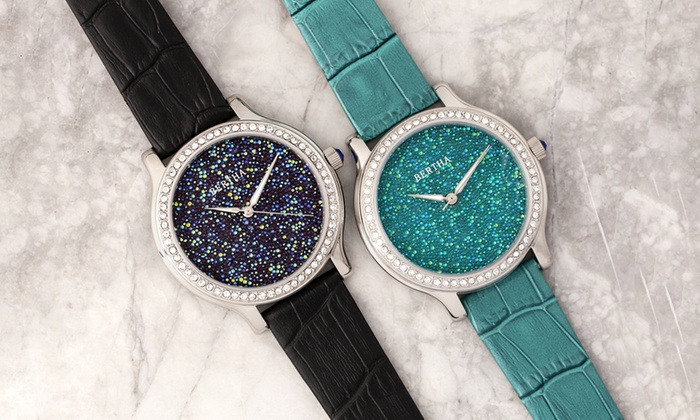 Bertha Cora Crystal Encrusted Leather Watch  21a6ff96c3