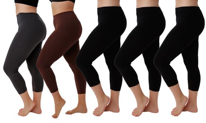 3bf61496d4b Women s Plus Size Capri Leggings (5-Pack)