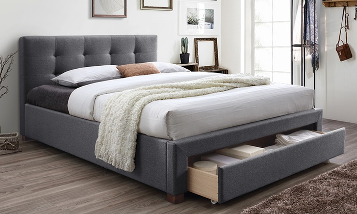 Brandy Fabric-Upholstered Queen-Size Storage Platform Bed