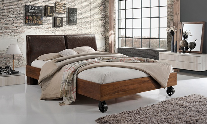 Brooke Rustic Industrial Style Platform Bed Groupon