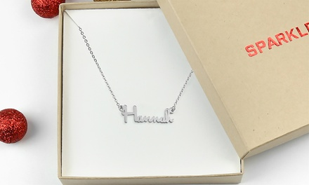 Sterling Silver Name Necklace in Sparkle Gift Box