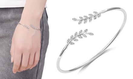Philip Jones verstelbare armbanden met blad, versierd met kristallen van Swarovski