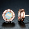 White Fire Opal Stud Earrings in 18K Rose Gold Plating By Peermont
