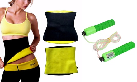 Fascia snellente unisex per addome disponibile in 3 taglie e corda per saltare con conta salti