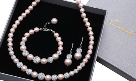 139,99 zł zamiast 1199 zł: 3-częściowy zestaw biżuterii Coccola z różowych, stopniowanych pereł i kryształów