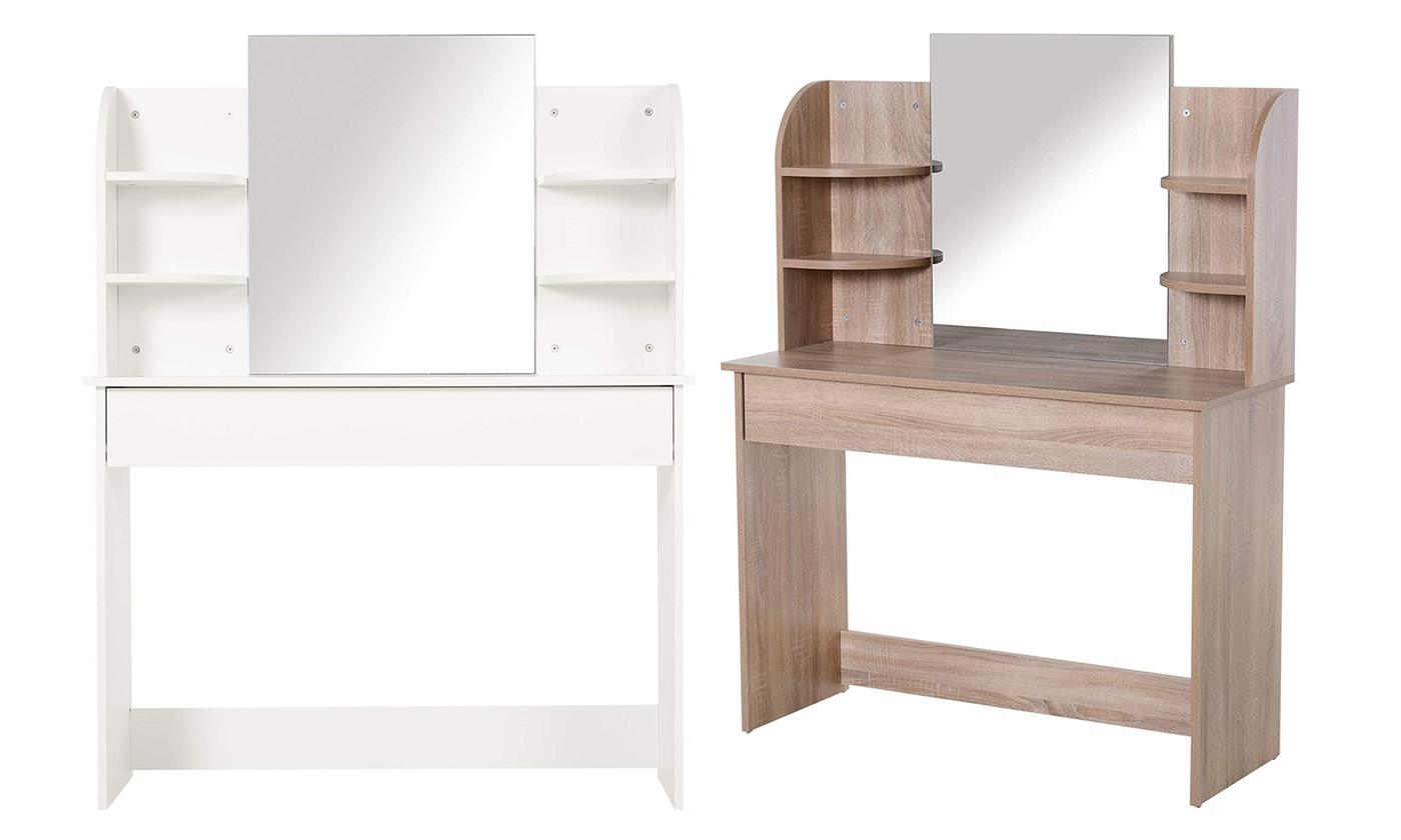 HOMCOM Bedroom Dressing Table with Large Mirror