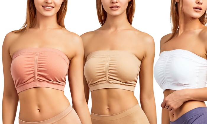 5f58a39af81 Women s Seamless Padded Strapless Bandeau Tube Bras (6-Pack)