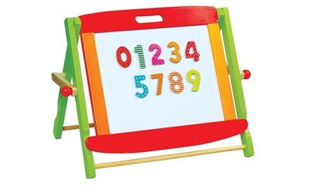 Lelin Wooden TwoinOne Magnetic and Chalkboard Tabletop Easel