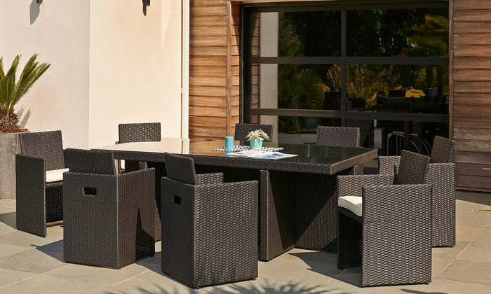 salon de jardin 8 ou 10 places groupon shopping. Black Bedroom Furniture Sets. Home Design Ideas