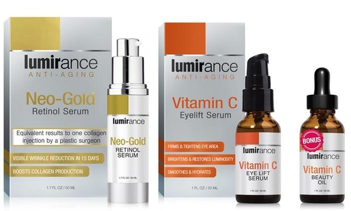 Lumirance Neo-Gold Retinol Serum and Vitamin C Eye Lift with Bonus Beauty Oil: Lumirance Neo-Gold Retinol Serum and Vitamin C Eye Lift with Bonus Beauty Oil