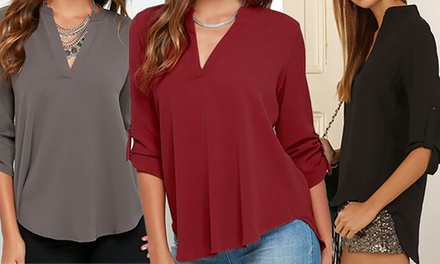 VNeck Chiffon Blouse in Choice of Colour and Size One $16 or Two $26
