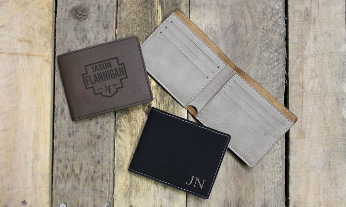 One or Two Personalized Leather Wallets from Etchey (Up to 40% Off)
