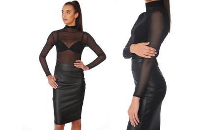 Midi Matte Black Pencil Skirt