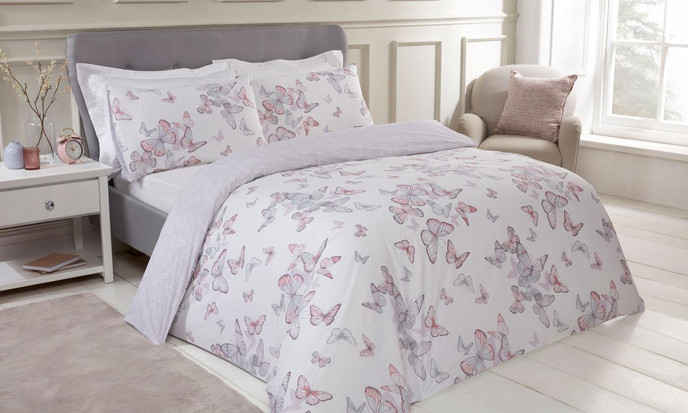 200TC Butterflies Reversible Duvet Set