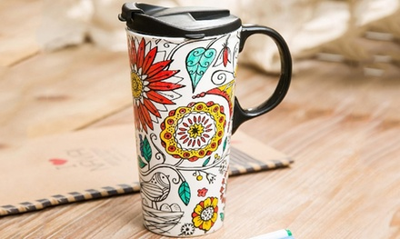 One or Two Just Add Colour Ceramic Travel Mugs