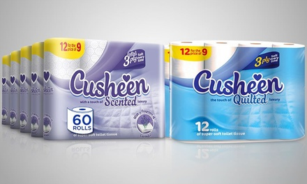 60 or 120 Rolls of Cusheen Lavender or White Toilet Paper