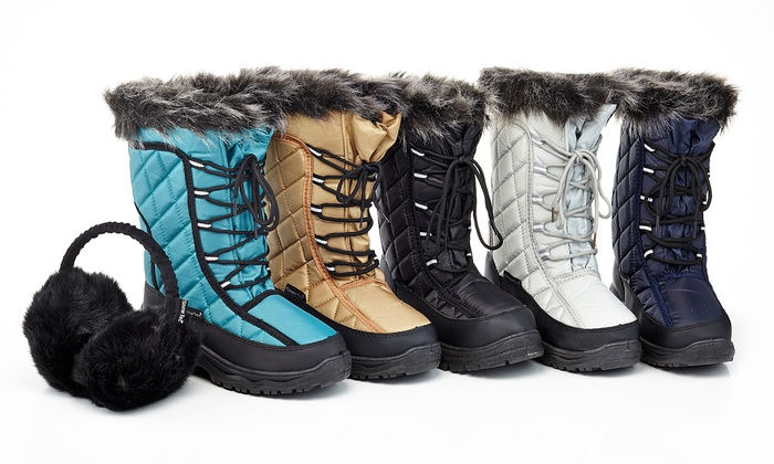 Snow Tec Women's Cold Weather Boot with Free Earmuff