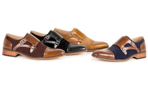 Gino Vitale Men's Double Monk Strap Two-Tone Loafers
