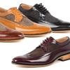 Gino Vitale Men's Long Wing Brogue Herringbone Dress Shoes