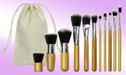 One £6.98 or Two £12.98 11Piece Bamboo MakeUp Brush Sets