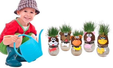 1, 2 o 5 muñecos cabeza crece hierba