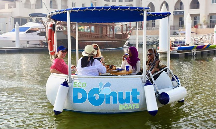 30, 60 or 90-Minute Eco-Donut Boats with Optional Pastry and Coffee from Carluccio's for Up to Six with Belevari Marine