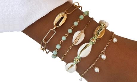 5er- oder 10er-Set Damen-Armbänder in Gold mit Muscheln und Charms