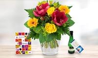 Blumenstrauß Ø 25 cm Amaryllisgruß oder Lilienglück inkl. Lindt Schokolade, Perlwein und Karte von Bluvesa (40% sparen*)