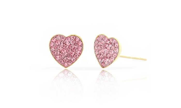 Kids 14k Gold Pink Crystal Heart Stud Earrings