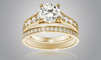 2 bagues (un Solitaire et une Alliance) Luxury Crystal dorées à l'or et ornées de Cristaux de Swarovski® à 10,90€(-82%)