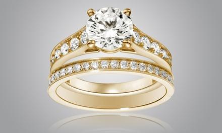 c71f518a63ea1 2 bagues un Solitaire et une Alliance Luxury Crystal dorées à l or et ornées  ...