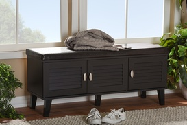 Sheffield 3-Door Shoe Storage Cushioned Bench