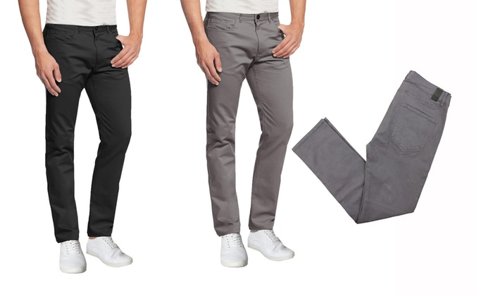 Mens 5-Pocket Ultra-Stretch Cotton Chino Pants Slim Fit Casual Office Regular