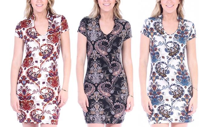 Printed Dress with Raised Collar