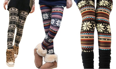 1 o 2 leggings estampados Nordic para mujer